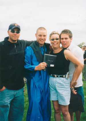BJ Ayers of Cheyenne, Wyo. lost two of her three sons to suicide—Brett (second from left) in 2005, and Beau (left) in 2009. Son Blair (right) and BJ now work  in suicide prevention advocacy.